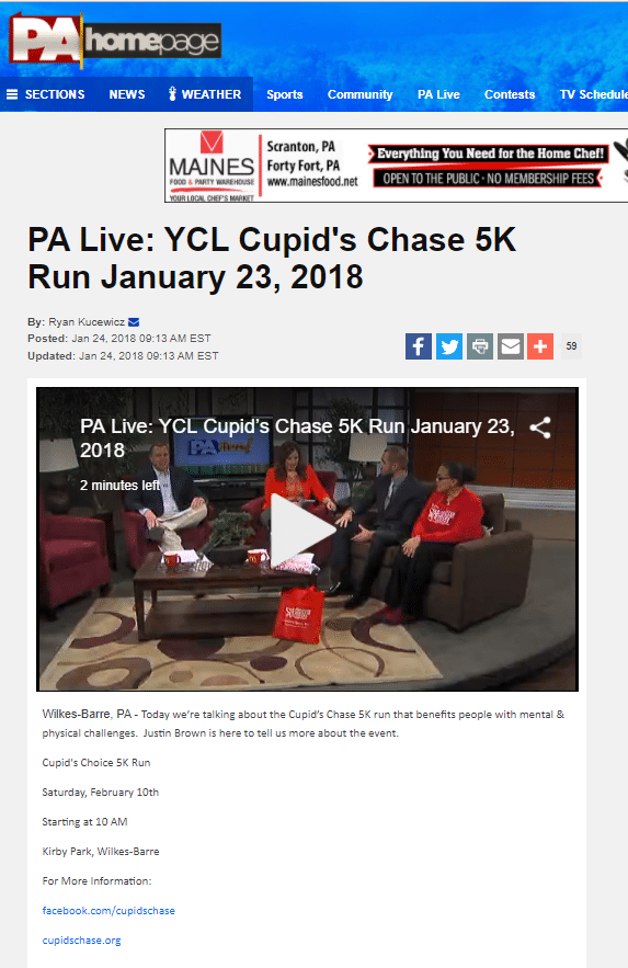 Justin Brown of Community Options discusses the upcoming 2018 Cupid's Chase 5K in Wilkes-Barre, PA on PA Live.