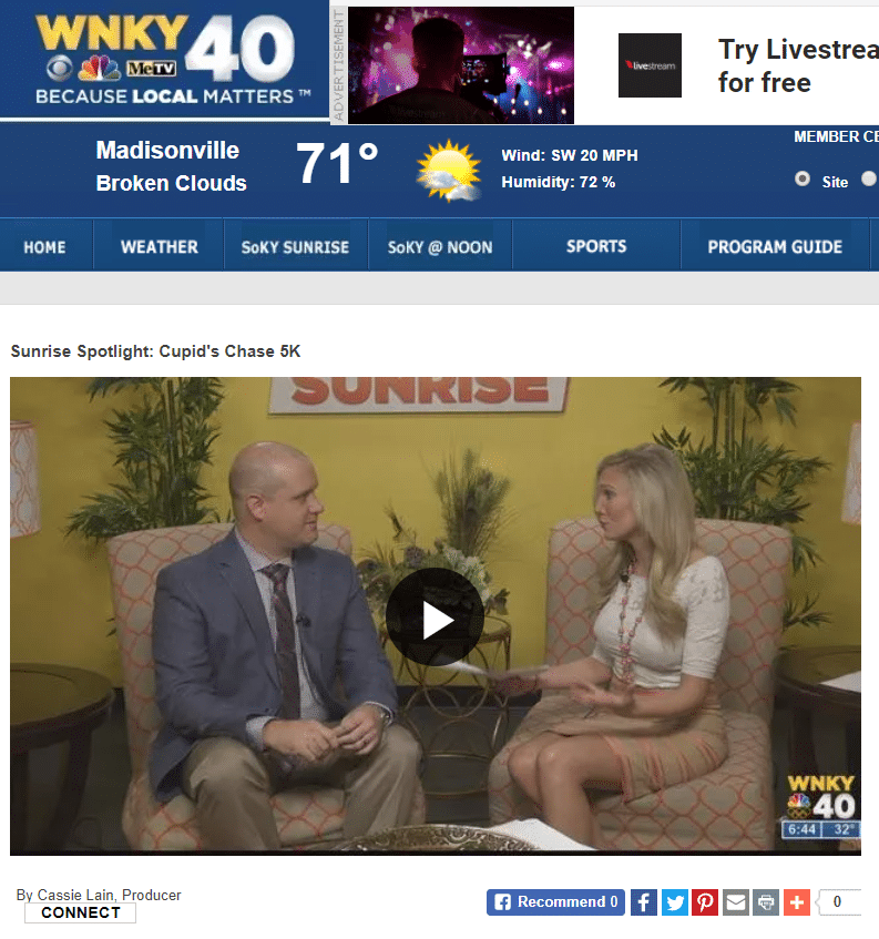 Kevin Potts joins Sunrise to talk about Cupid's Chase 5K in Bowling Green, KY.