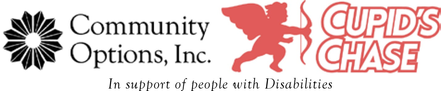 Cupid's Chase Logo with Community Options, Inc. Logo and support line