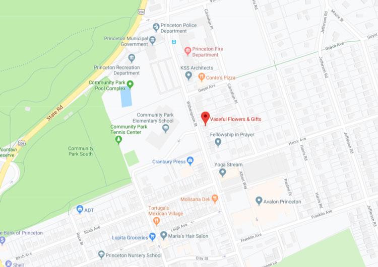 Vaseful Flowers & Gifts Princeton Map