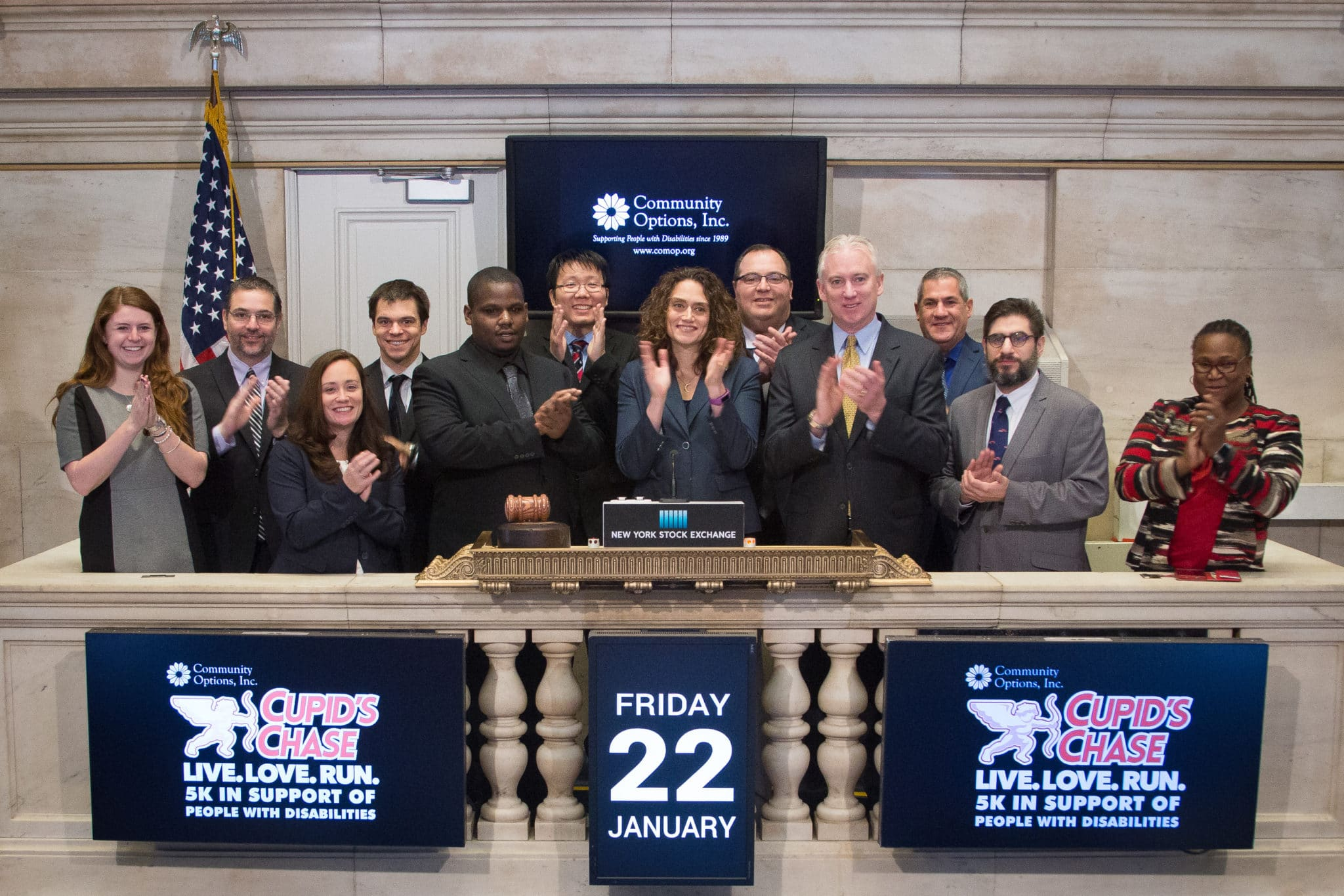 Robert Stack, President of Community Options, Inc., selected Roy King to ring the opening bell at the New York Stock Exchange, Friday January 22, 2016.