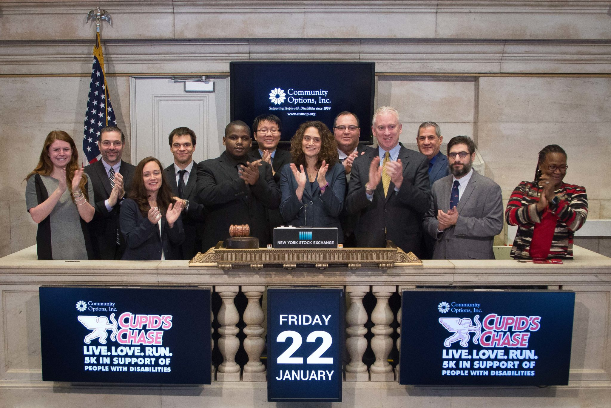 Robert Stack, President of Community Options, Inc., selected Roy King to ring the opening bell at the New York Stock Exchange, Friday January 22, 2016. hoto Credit: NYSE/Valerie Caviness