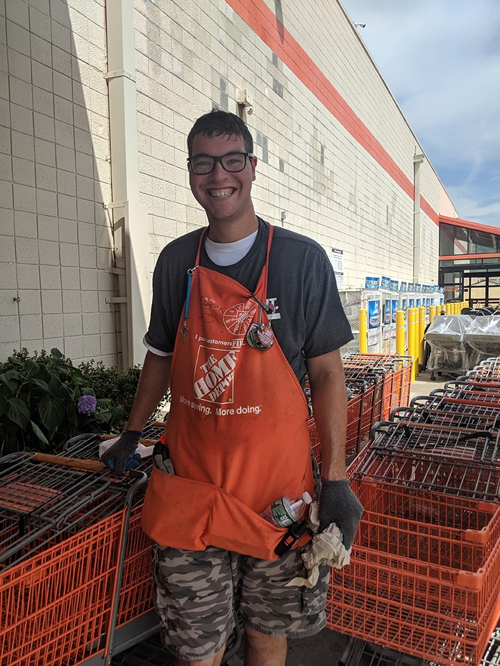 Derek was Operational Employee of the Month for the Home Depot at his location