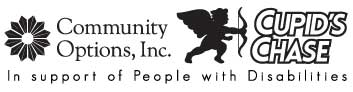 Community Options, Inc. In Support of people with disabilities Cupid's Chase Logo black/white