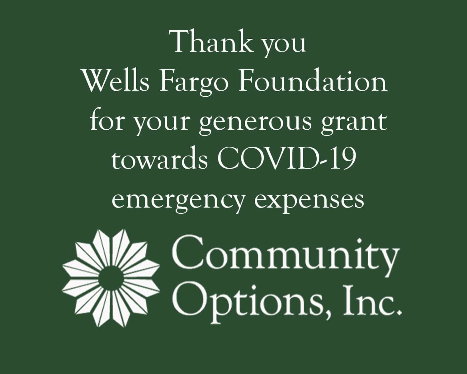 Thank you Wells Fargo Foundation for your generous grant towards COVID-19 emergency expenses