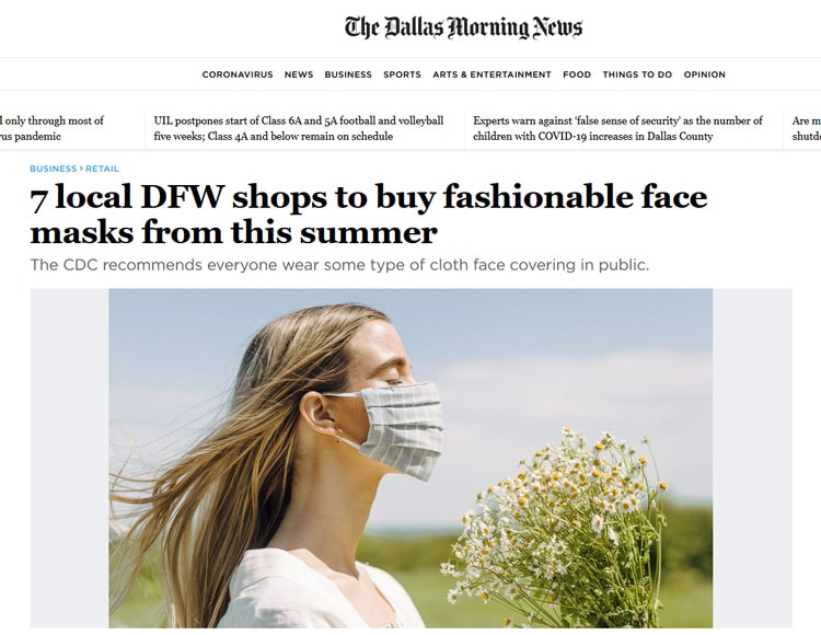 7 local DFW shops to buy fashionable face masks from this summer