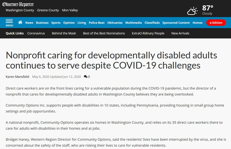 Nonprofit caring for developmentally disabled adults continues to serve despite COVID-19 challenges