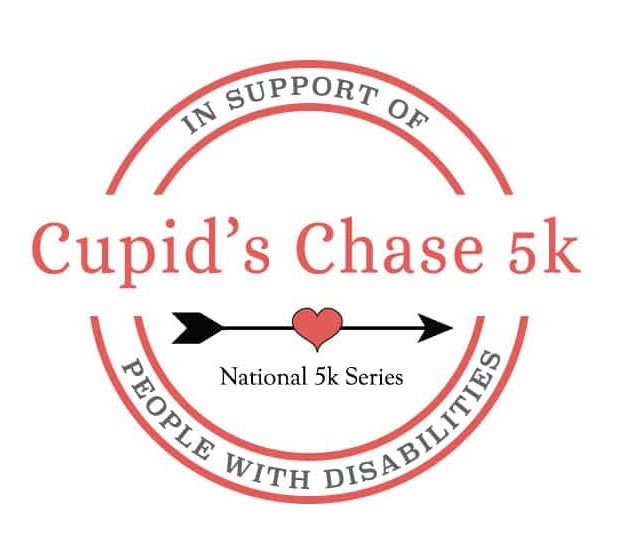 Cupid's Chase 5k Logo National 5k Series In support of people with disabilities