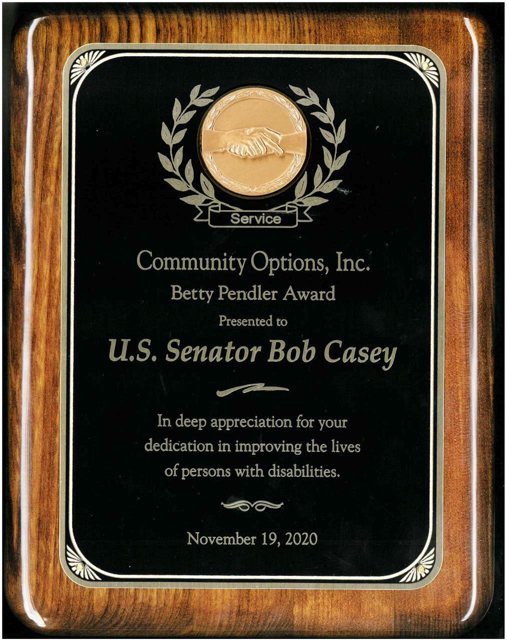 Senator Bob Casey Betty Pendler Award