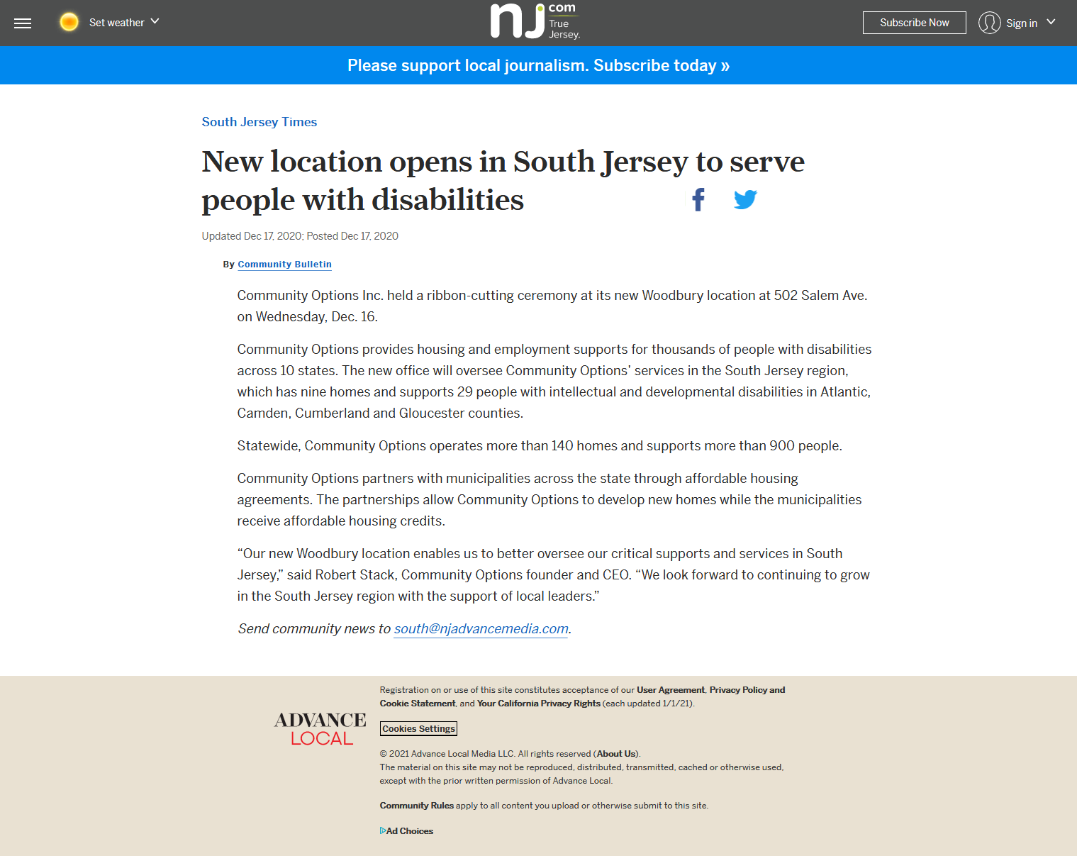 New location opens in South Jersey to serve people with disabilities
